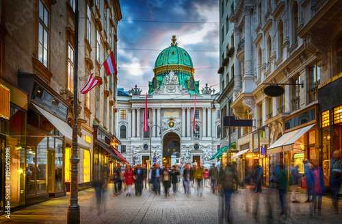 Poster Central Europe The pedestrian zone Herrengasse with a view towards imperial Hofburg palace in Vienna, Austria.