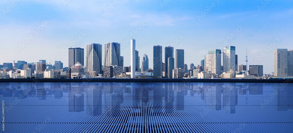 Fototapeta Modern cityscape viewed from observation platform.