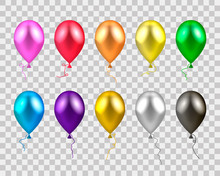 Vector Illustration. Colored Balloons On A Transparent Background.