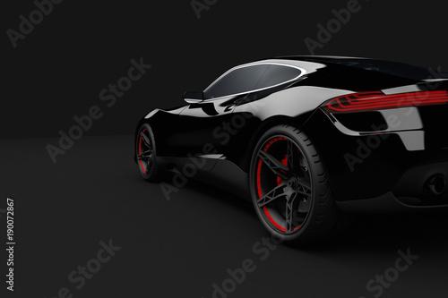 Schwarzer Sportwagen auf schwarzen Hintergrund 3D Illustration