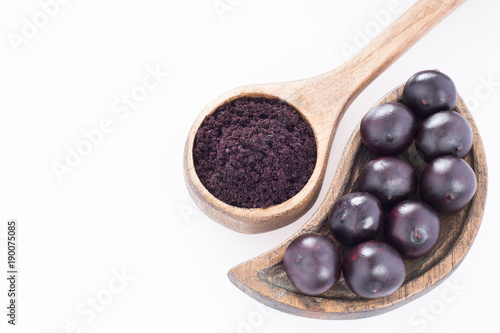 Acai powder and fruits - Euterpe oleracea Canvas Print