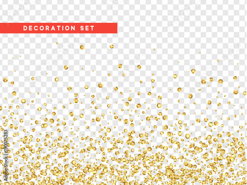 Photographie Gold sequins texture isolated with transparent background.