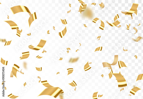 Fototapeta Falling shiny golden confetti isolated on transparent background. Bright festive tinsel of gold color. obraz na płótnie