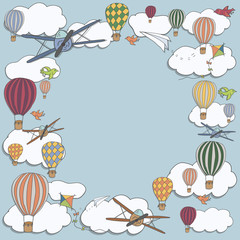 Fototapeta Na sufit Vector square banner with hot air baloons flying in the sky with place for your text, vector frame