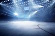 Leinwandbild Motiv hockey stadium with fans crowd and an empty ice rink
