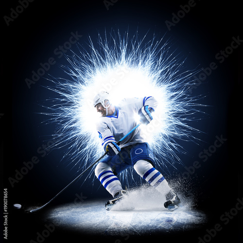Fotomural Ice Hockey player is skating on a abstract background