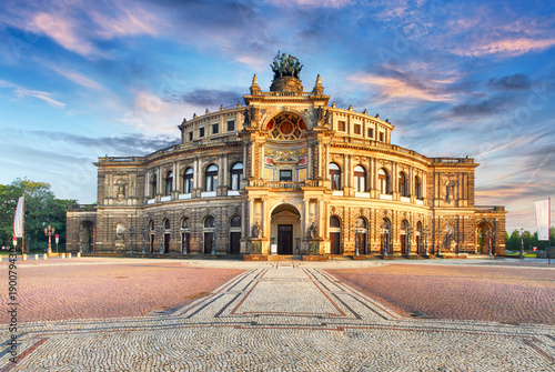 Poster Theater Semperoper opera building at night in Dresden