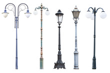 Real Vintage Street Lamp Posts And Lanterns, Set Of Five Outdoor Lamp Posts Isolated On White Background