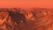Mountain Canyon Landscape On Mars With Red Sky - Science Fiction Illustration