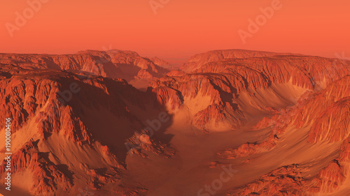 In de dag Koraal Mountain Canyon Landscape on Mars with Red Sky - science fiction illustration