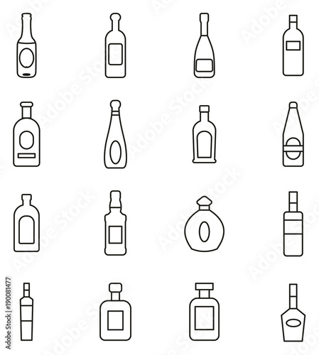 Photo  Bottle or Glass Bottle or Liquer Bottle Icons Thin Line Vector Illustration Set