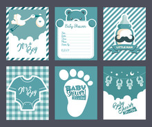Collection Of Blue Baby Boy Shower Invitation Greeting Cards