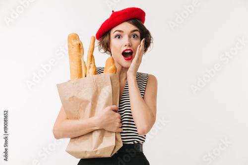 Fotografie, Obraz  Portrait of a surprised woman wearing beret