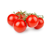 Bunch Of Cherry Tomatoes Isolated On White Background.