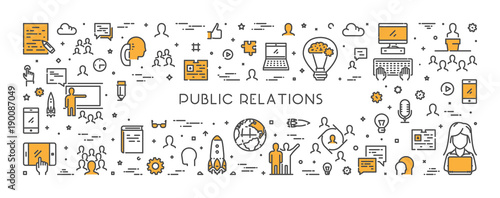 Vector line web concept for public relations Wallpaper Mural
