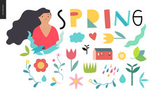 Spring Lettering And Elements - Set Of Seasonal Elements