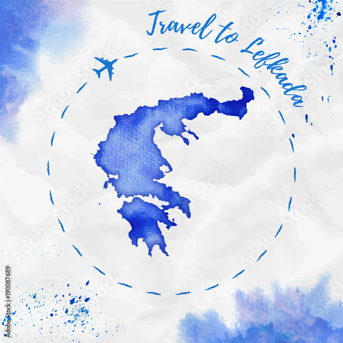 Wall Murals Form Lefkada watercolor island map in blue colors. Travel to Lefkada poster with airplane trace and handpainted watercolor Lefkada map on crumpled paper. Vector illustration.