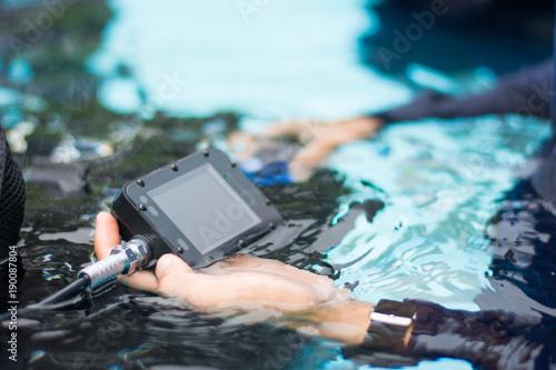 Spoed Foto op Canvas Duiken digital moniter gas in scuba diver