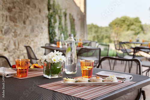 Foto op Aluminium Buffet, Bar breakfast table set up with flowers in a coutryside hotel.