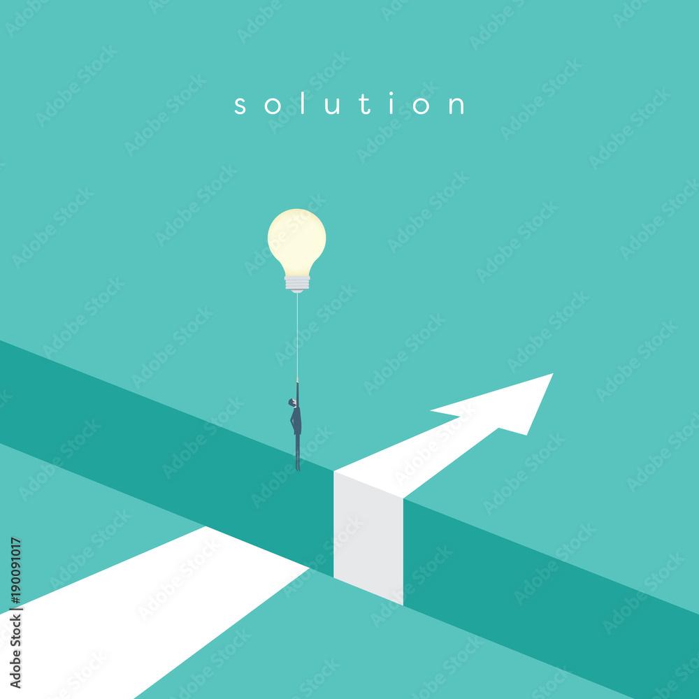 Obraz Business solution with creative idea vector concept. Businessman flying with lightbulb balloon over hole. fototapeta, plakat