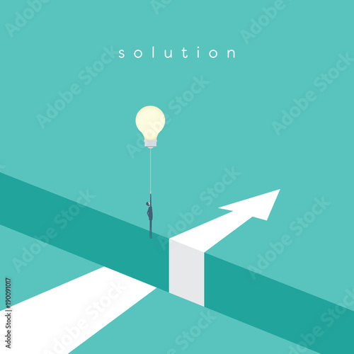 Fototapeta Business solution with creative idea vector concept. Businessman flying with lightbulb balloon over hole. obraz