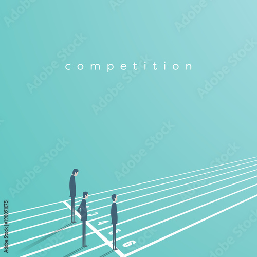 Cuadros en Lienzo Business competition vector concept with businessman on running track