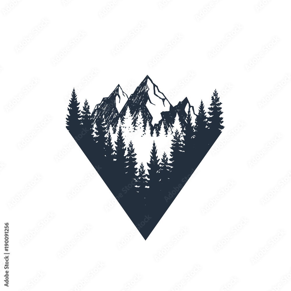 Fototapety, obrazy: Hand drawn travel badge with fir trees and mountains textured vector illustrations.