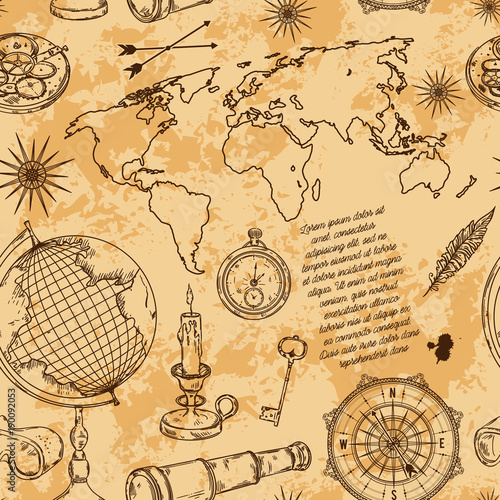 Seamless Pattern With Globe Compass World Map And Wind Rose