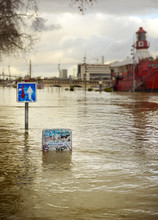 Road Signs On Flooded By Seine...