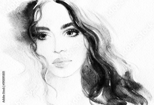 Door stickers Watercolor Face Beautiful woman. Fashion illustration. Watercolor painting