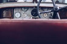 Interior Vintage Car With Stee...