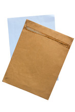 Old Brown Envelope And Paper Isolate On White Background