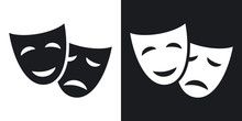 Vector Theatrical Masks Icon. ...