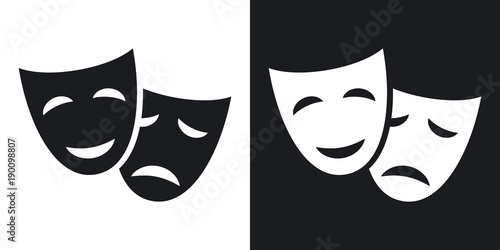 Fotografie, Tablou  Vector theatrical masks icon