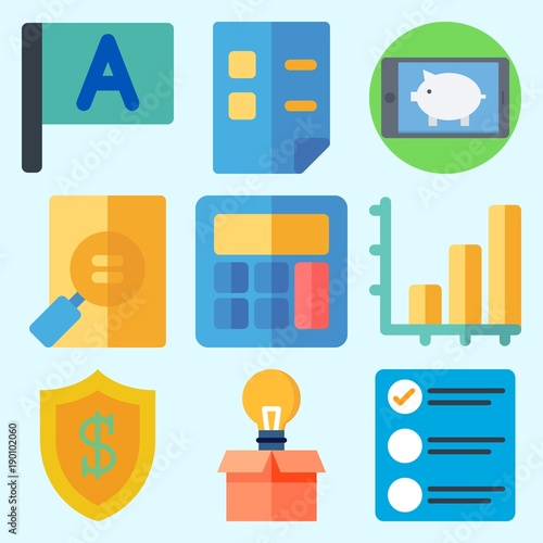 Fotografía  Icons set about Business with flag, calculator, idea, smartphone, bar chart and