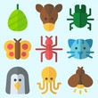 Icons set about Animals with penguin, butterfly, cat, octobus, firefly and ant