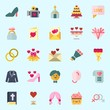 Icons set about Wedding with wedding bells, high heels, groom, suit, genders and balloons