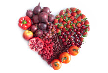 Red Heartshape Fruits And Vegetables