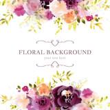 Fototapeta Kwiaty - Watercolor floral background template