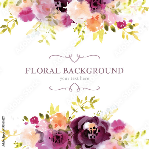 Fototapeta Watercolor floral background template obraz