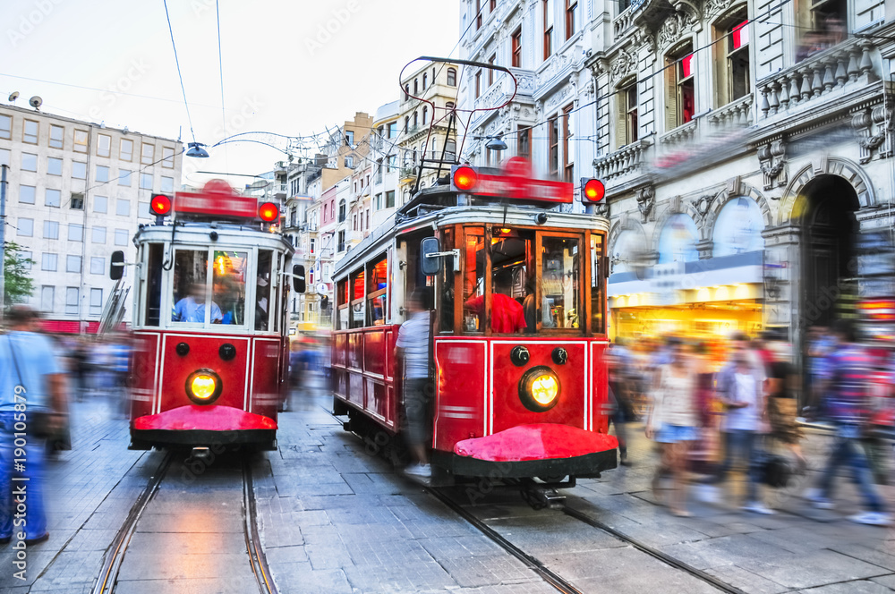 Fototapety, obrazy: Old red tram goes on Istiklal street