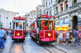 Old red trams onstiklal Avenue, Istanbul, Turkey
