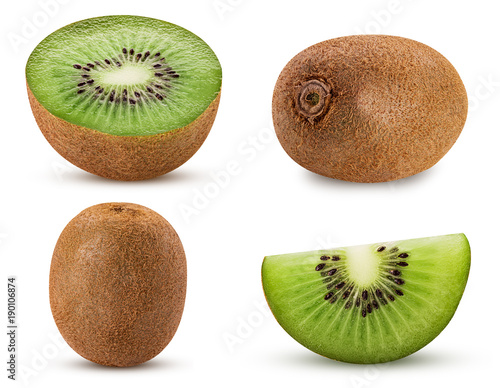 Fototapeta Collection ripe kiwi fruit, whole, cut in half, slice