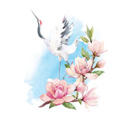 FototapetaWatercolor crane composition