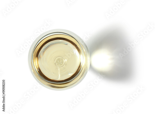 Glass with wine on white background