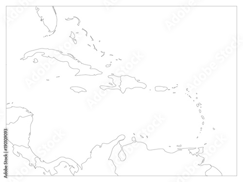 Central America and Carribean states political map. Black outline ...