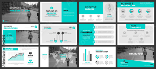 Fotografie, Obraz  Business presentation slides templates from infographic elements