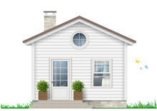 Beautiful White Little House W...