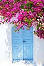 Old Blue Door And Pink Flowers...