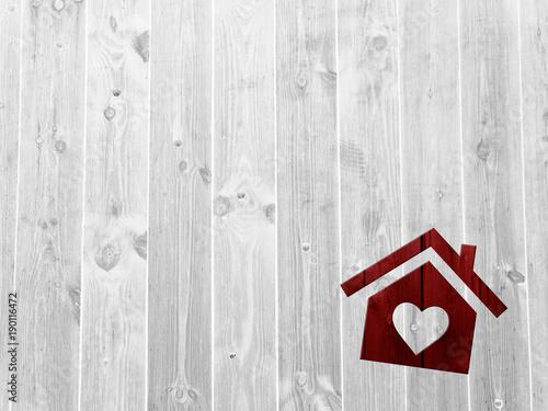 Plakat dom, domek, drewno, cegła,